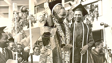 Mwalimu at a past graduation ceremony at the University of Dar es Salaam. On his left Pius Msekwa