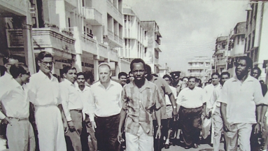 The Rallies along the street of Dar-es-Salaam lead by president against the revolt made in 1964