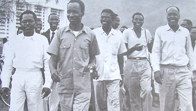 Elected TANU leaders after the announcement of landslide victory 1958