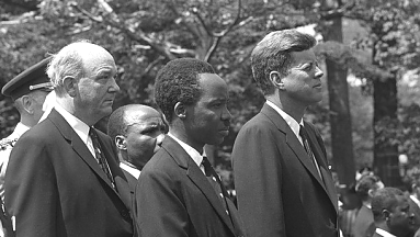 J.K. Nyerere with J.F. Kenney and Dean Rusk during the official visit to the USA in 1976