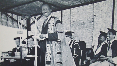 Nyerere addressing on the opening of Mlimani Campus at the University Collage of Dar-es-Salaam