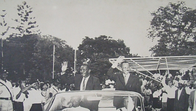 J.K. Nyerere and A.A. Karume on union day 1964