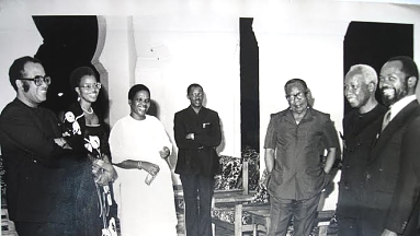 Nyerere and wife Maria receives Samora Machael and Wife at the State House