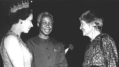 Queen Elizabeth II, J.K. Nyerere and former Personal Assistant to Nyerere, Joan Wicken