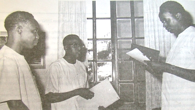 Edward M. Sokoine is sworn in as Prime Minister by President Julius Nyerere