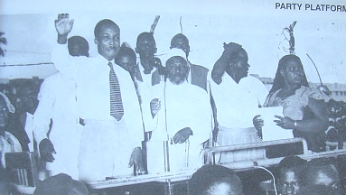 Julius Nyerere with Bibi Titi Mohamed on campaign tours of the country 1957