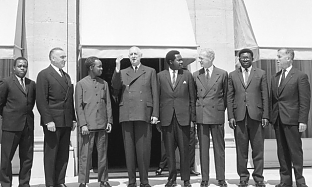 J.K.Nyerere with President Charles de Gaulle on his right in Paris 1965
