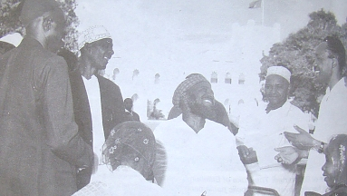 Nyerere with elders on independence at the state house 1961