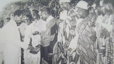 Nyerere with elders on independence ceremonies 1961