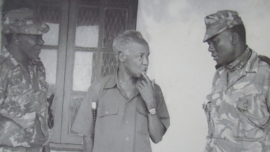 Nyerere with his generals on Amini of Uganda invasion to Tanzania, November 1978