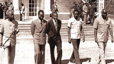 Nyerere (far left) with some leaders of the frontline states