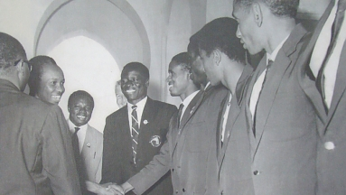 National Team players in with Nyerere at state house after winning Gossage Cup in 1964