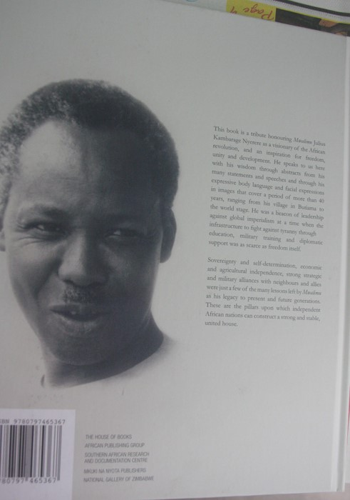 Back page of the book Julius Nyerere, Asante Sana, Thank You Mwalimu